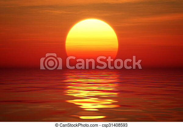 Sunset over tranqual water - csp31408593