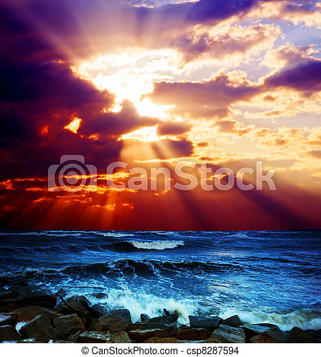 Surrealistic sunset seascape - csp8287594