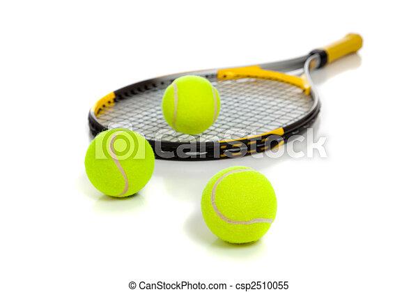 Tennis raquet with yellow balls on white - csp2510055