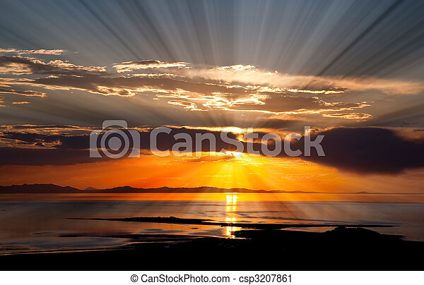 The colorful sunset at the Great Salt Lake - csp3207861