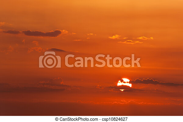 the red sunset sky - csp10824627
