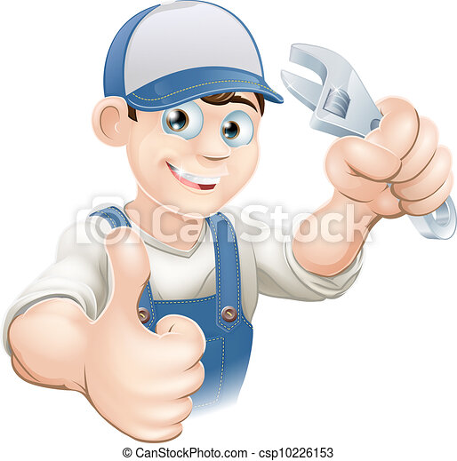 Thumbs up plumber with spanner - csp10226153