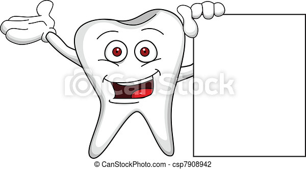 Tooth cartoon with blank sign - csp7908942