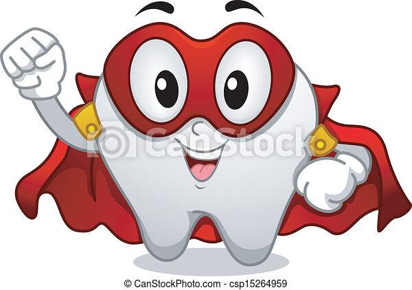 Tooth Superhero Mascot - csp15264959