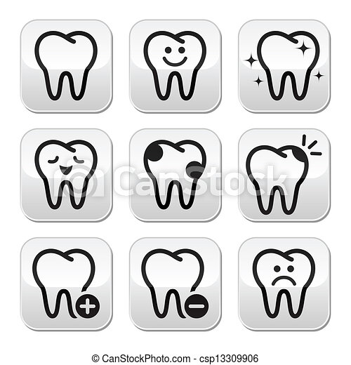 Tooth , teeth vector buttons set - csp13309906