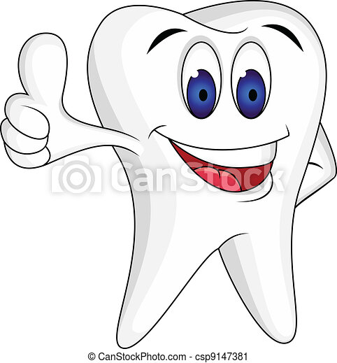 Tooth with thumb up - csp9147381