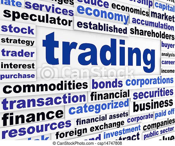 Trading financial words design - csp14747808