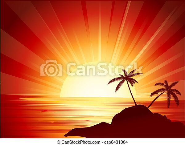tropical sunset - csp6431004