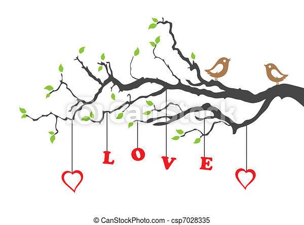Two love birds and love tree - csp7028335