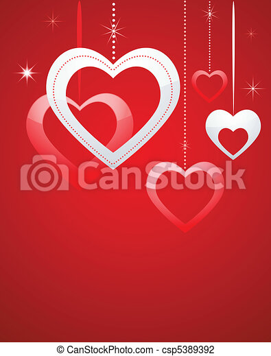 Valentines card with hearts - csp5389392