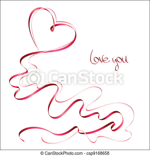 Valentine's day card with ribbons - csp9168658