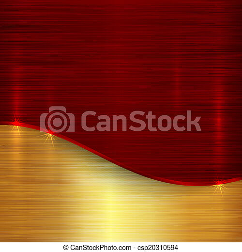 Vector abstract cherry red and gold metallic background - csp20310594