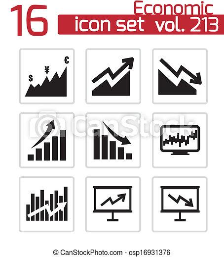Vector black economic icons set - csp16931376