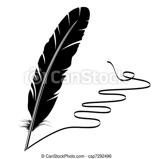Vector monochrome writing old feather and flourish - csp7292496