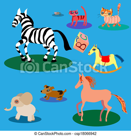 Vector set of cute cartoon animals. - csp18066942