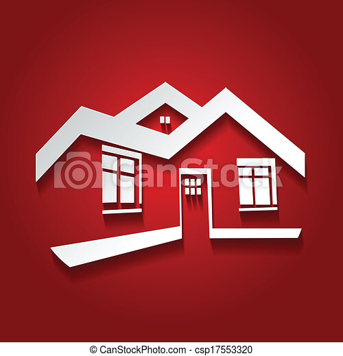 Vector symbol of home, house icon, realty silhouette, real estate modern logo - csp17553320