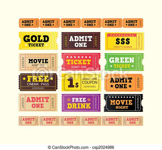 Vintage cinema tickets. BIG COLLECTION. - csp2024986