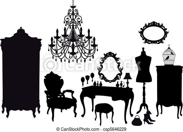 vintage dressing room, vector - csp5646229