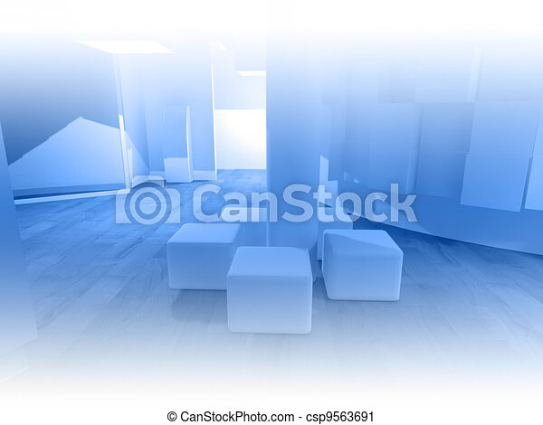 Waiting room in a hospital or clinic with empty space - csp9563691