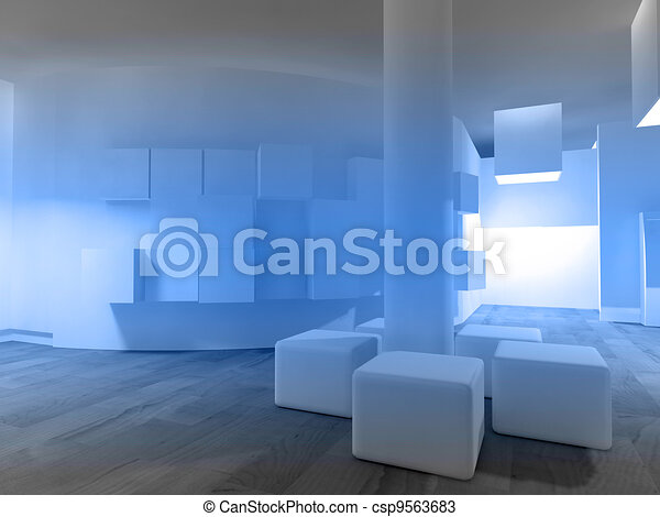 Waiting room in a hospital or clinic with empty space - csp9563683