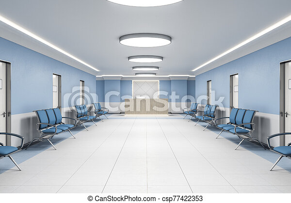Waiting room in hospital interior with reception. - csp77422353