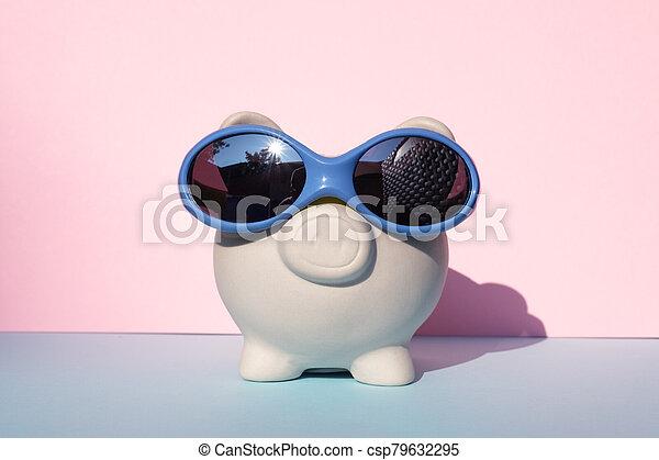 White moneybox pig - csp79632295