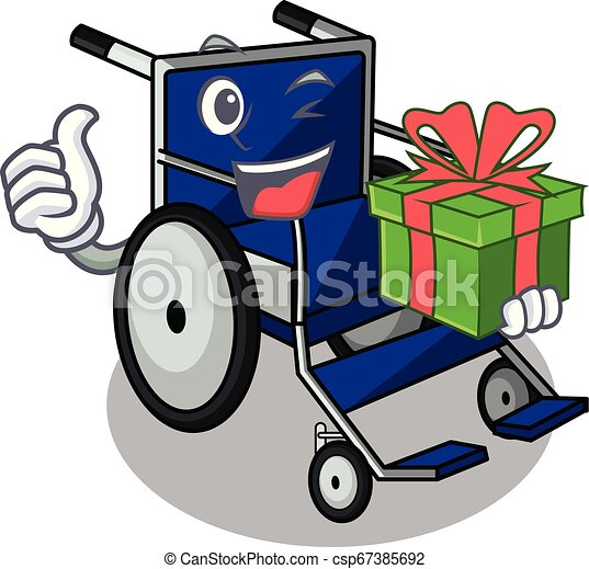 With gift cartoon wheelchair in a hospital room - csp67385692