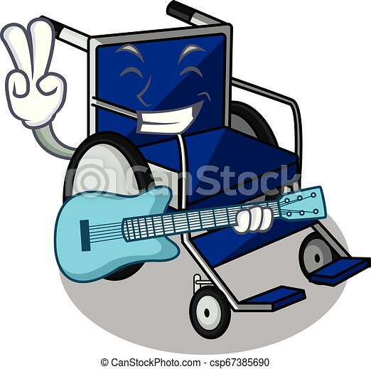 With guitar cartoon wheelchair in a hospital room - csp67385690