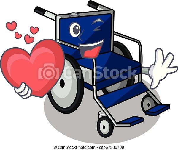 With heart cartoon wheelchair in a hospital room - csp67385709