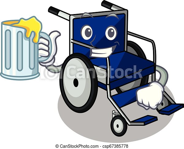 With juice cartoon wheelchair in a hospital room - csp67385778