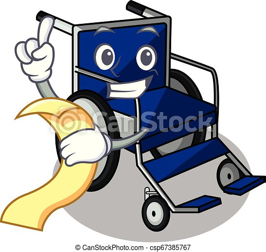 With menu cartoon wheelchair in a hospital room - csp67385767