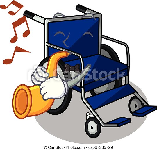 With trumpet cartoon wheelchair in a hospital room - csp67385729