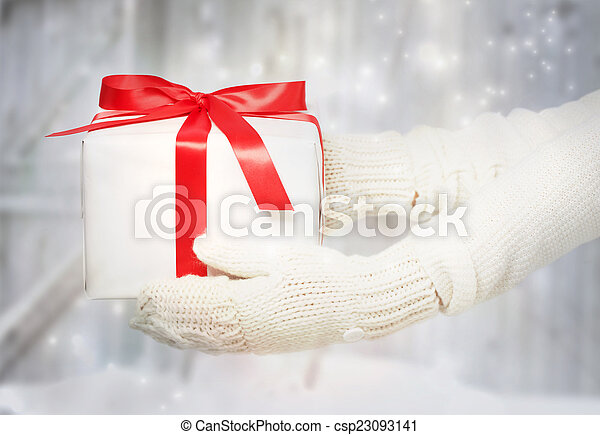 Woman holding a present box - csp23093141