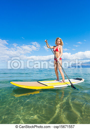 Woman on Stand Up Paddle Board - csp15671557
