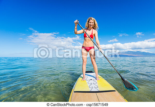 Woman on Stand Up Paddle Board - csp15671549