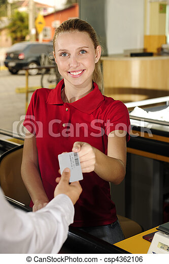 Woman paying cashier at the cash counter - csp4362106