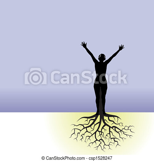 woman with tree roots - csp1528247