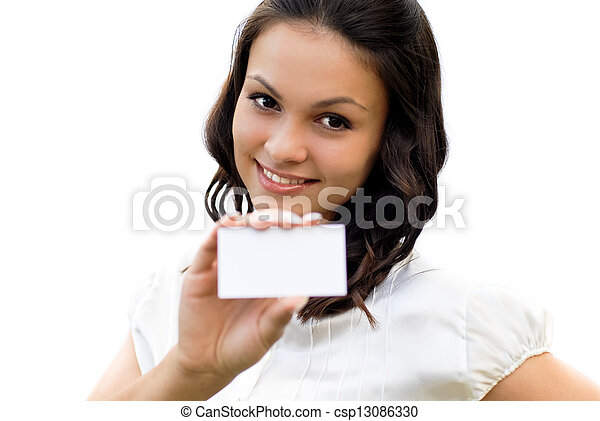 Young beautiful woman holding business card - csp13086330