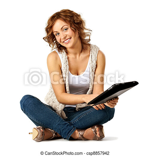 Young beauty student woman with tablet - csp8857942