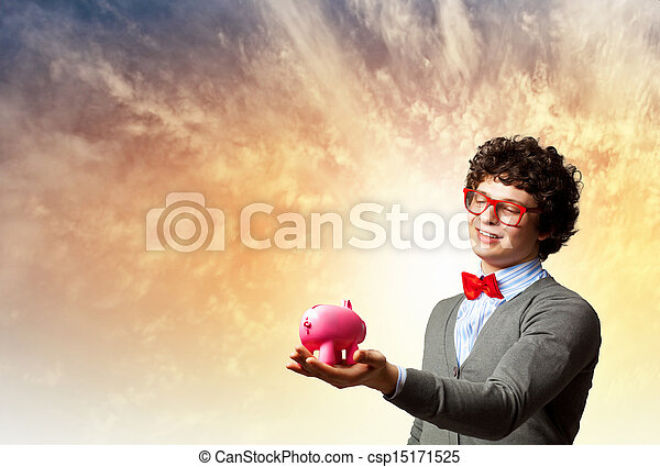Young businessman holding moneybox - csp15171525