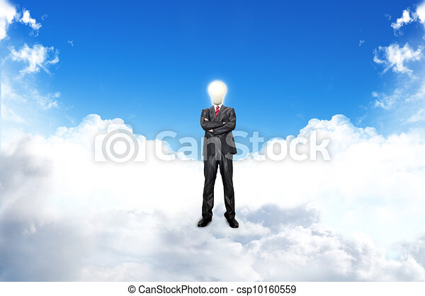 Young businessman with blub stand up on the clouds. - csp10160559
