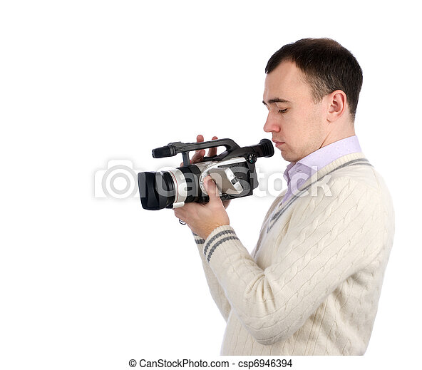 young man with digital video camera - csp6946394