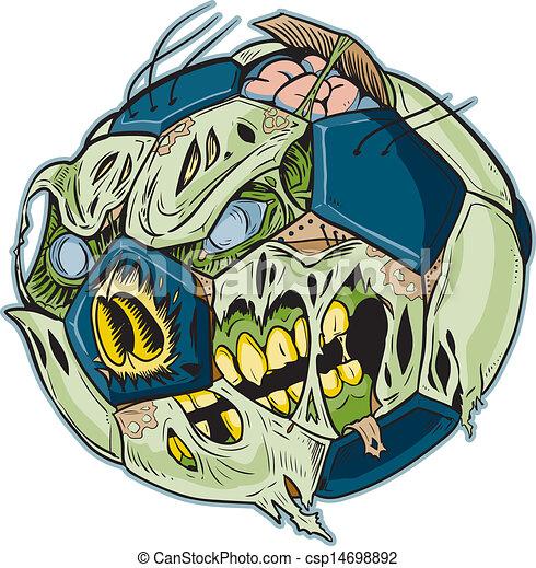 Zombie Soccer Ball Vector Cartoon - csp14698892