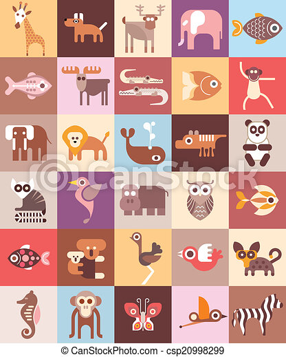 Zoo Animals vector illustration - csp20998299
